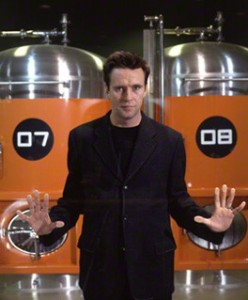 Oliver Peyton in front of the fermenters at Mash, Great Portland Street, London (1999) Source: National Portrait Gallery