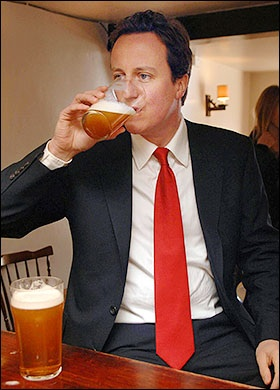 Two pints for two-terms as Prime Minister - David Cameron returns with a single party government