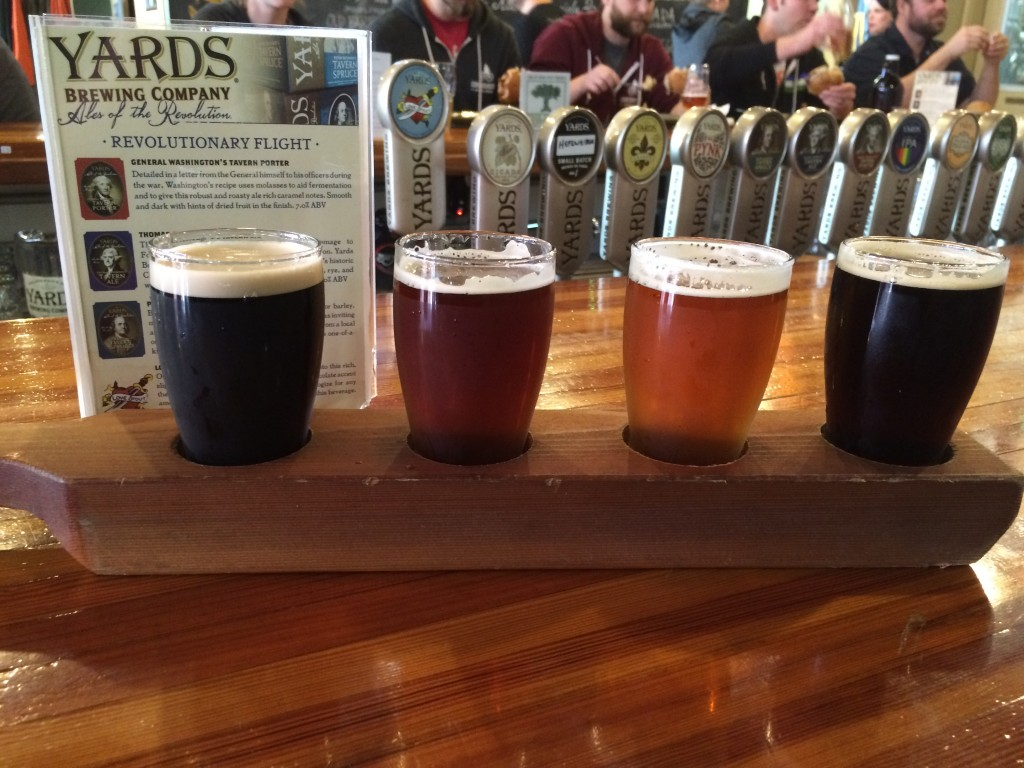 L-R: Love Stout (5.5% abv); Poor Richards Tavern Spruce (5% abv); Thomas Jefferson's Tavern Ale (8% abv) &  General Washington's Tavern Porter (7% abv)