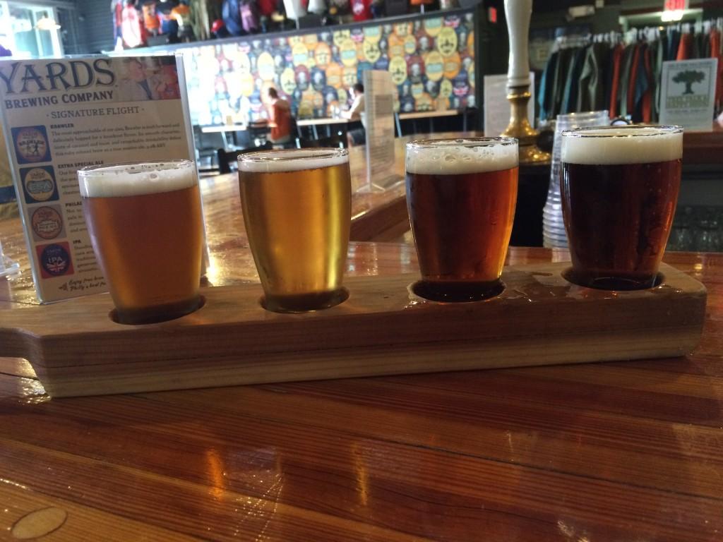L-R: IPA (7% abv); Philadelphia Pale Ale (4.6% abv); Extra Special Ale (6% abv) & Brawler (4.2% abv)