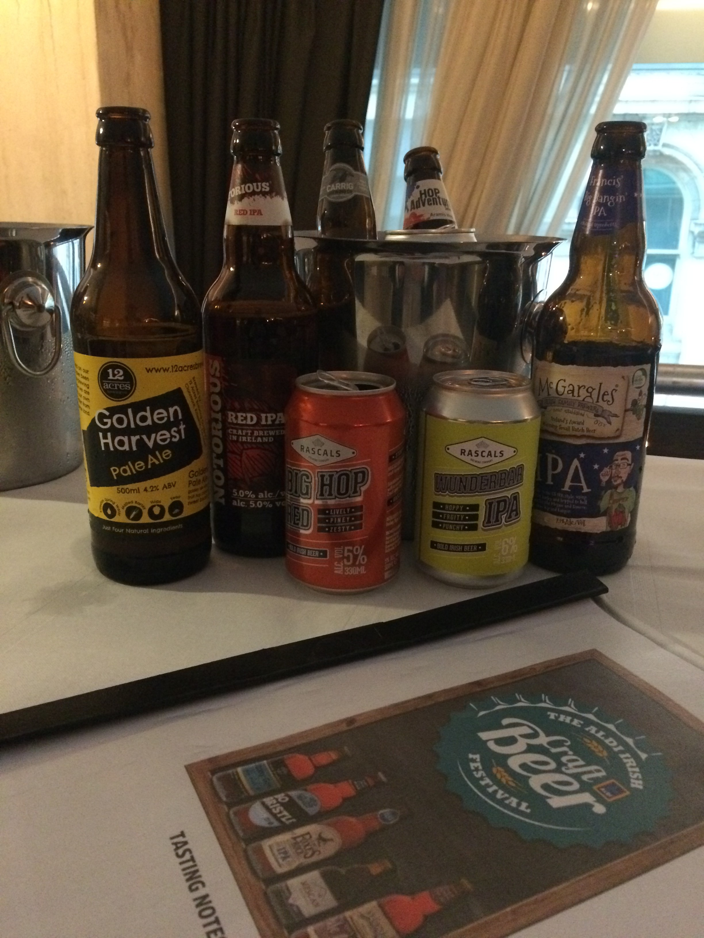 A snapshot of the beers on offer during the promotion, including Golden Harvest Pale Ale produced by 12 Acres for Aldi